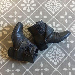 LifeStride Dark Gray Boots Zipper Flannel Low Heel